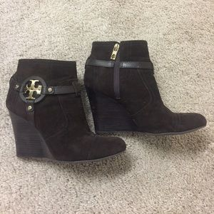 Tory Burch Authentic Suede zip bootie Wedges!